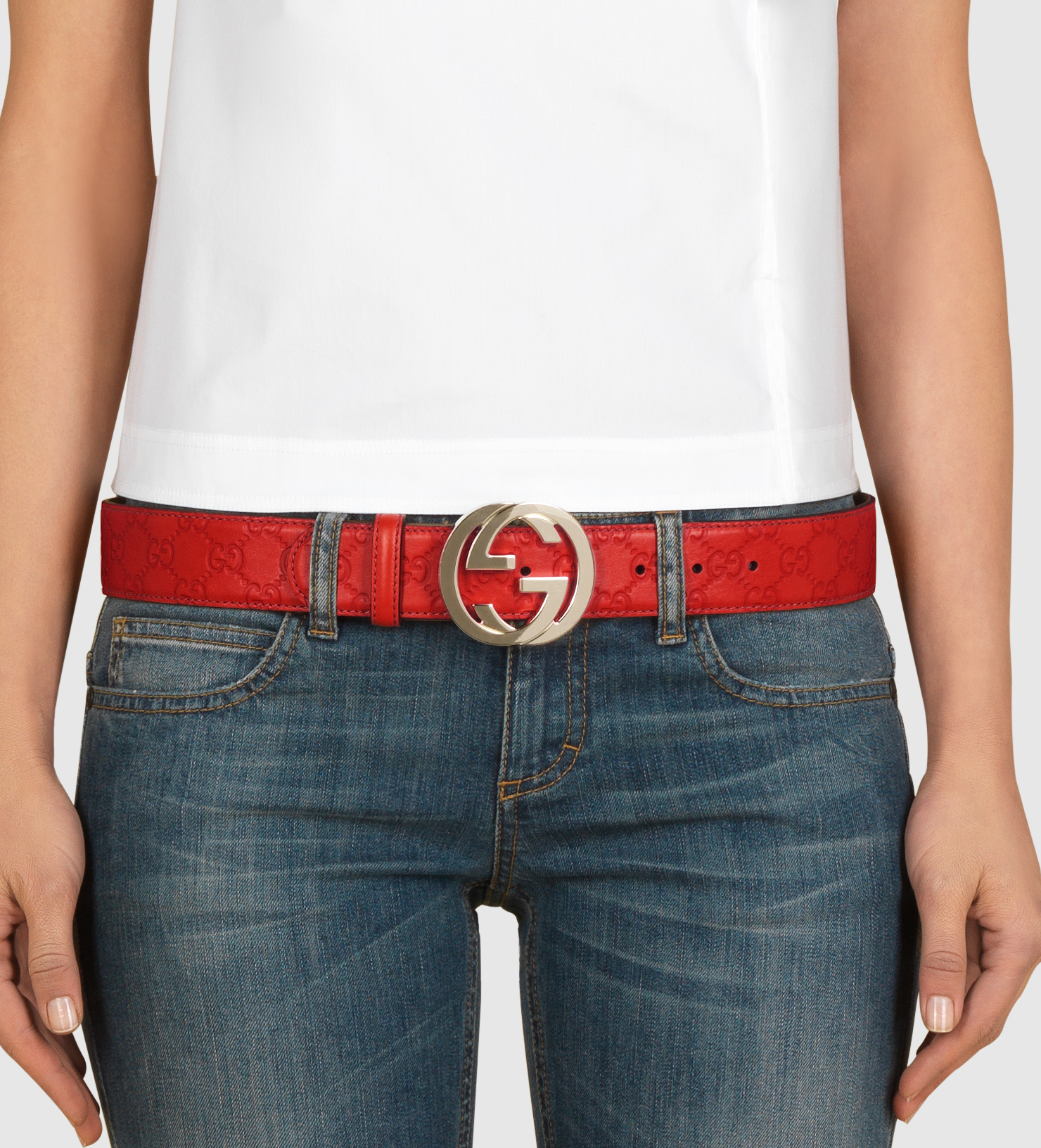 57d18e16c6488 Gucci Ssima Leather Belt With Interlocking G Buckle in Red - Lyst