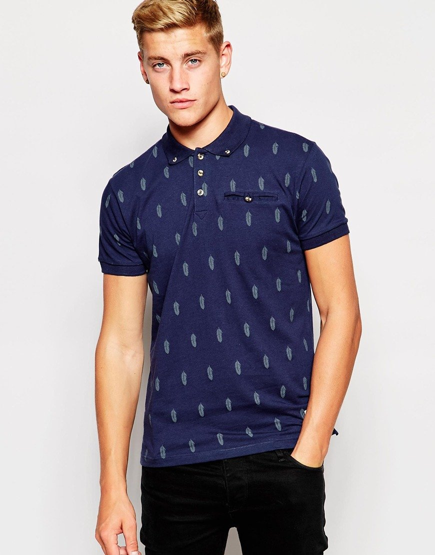 Lyst bellfield polo shirt with all over feather print in for Polo shirts for printing