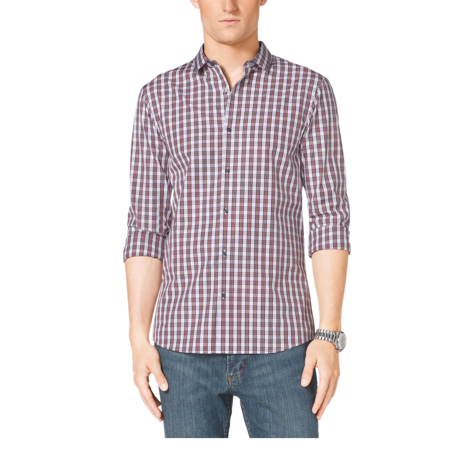 Michael Kors Slim Fit Check Cotton Shirt In Red For Men