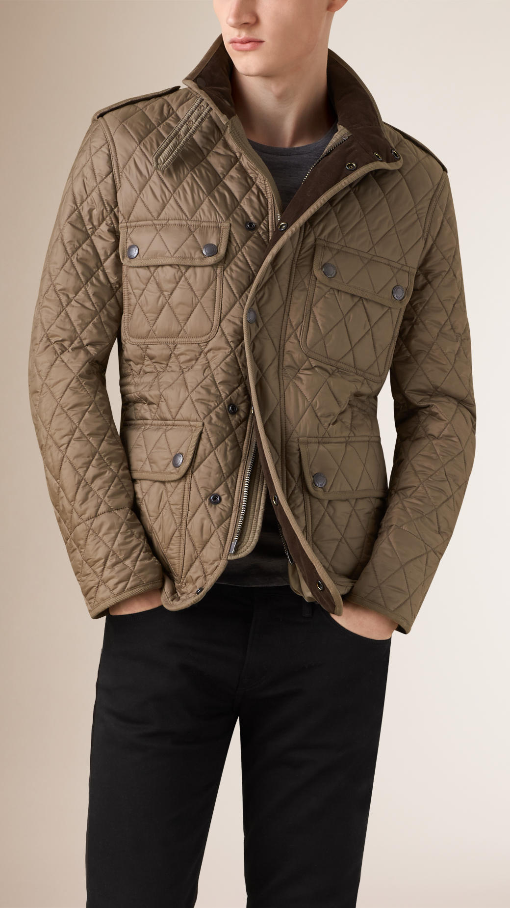 Lyst - Burberry Diamond Quilted Field Jacket in Natural for Men : mens lightweight quilted jacket - Adamdwight.com
