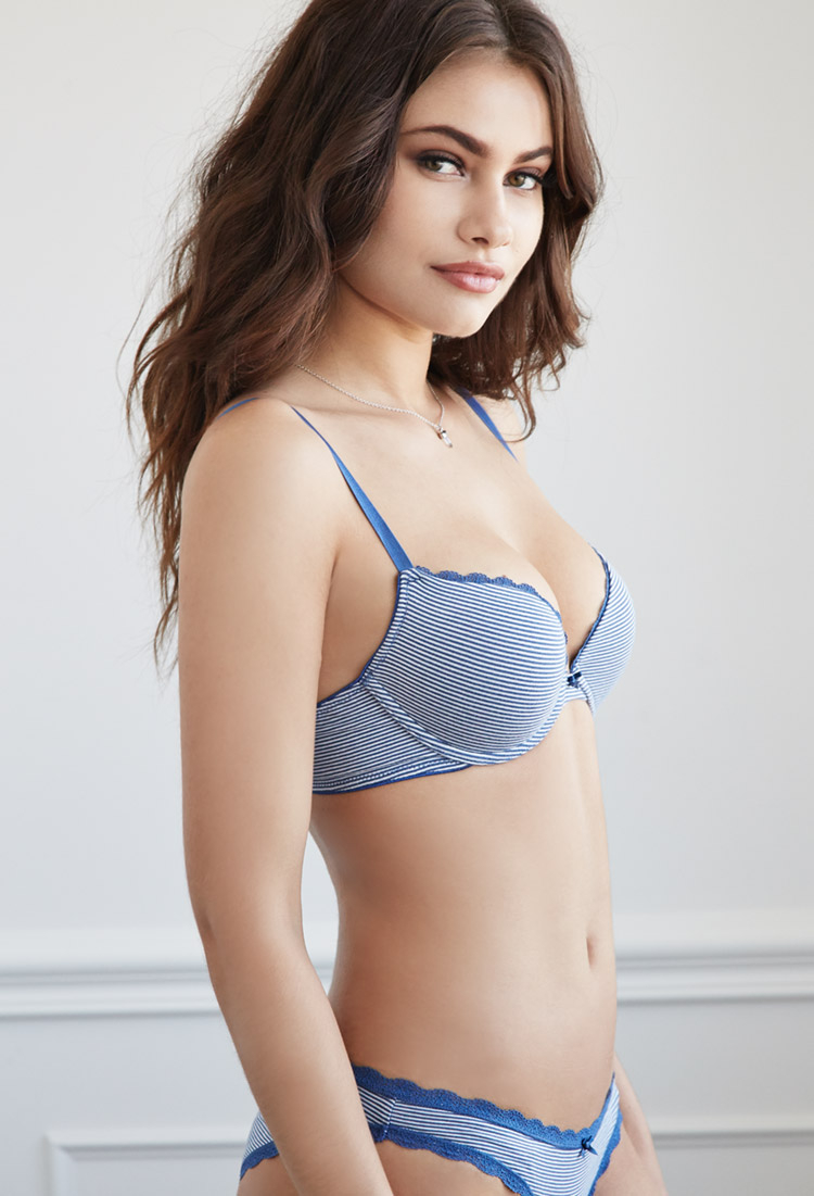 140307c83cce7 Lyst - Forever 21 Cotton-blend Stripe Push-up Bra in Blue