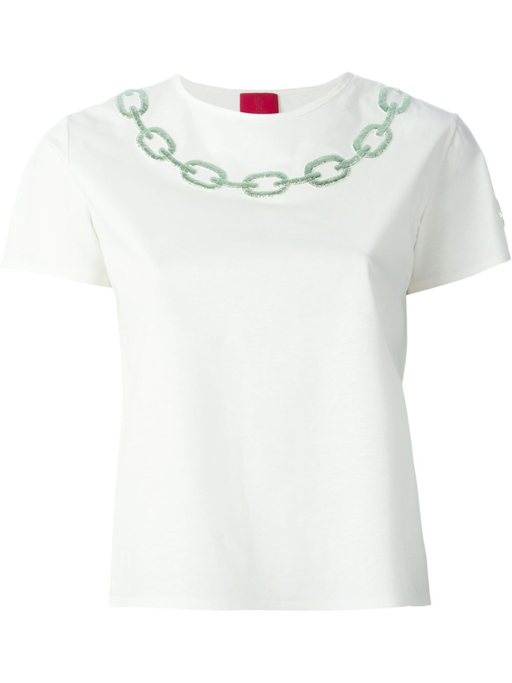 Moncler gamme rouge 39 ambre 39 t shirt in white lyst for Off white moncler t shirt