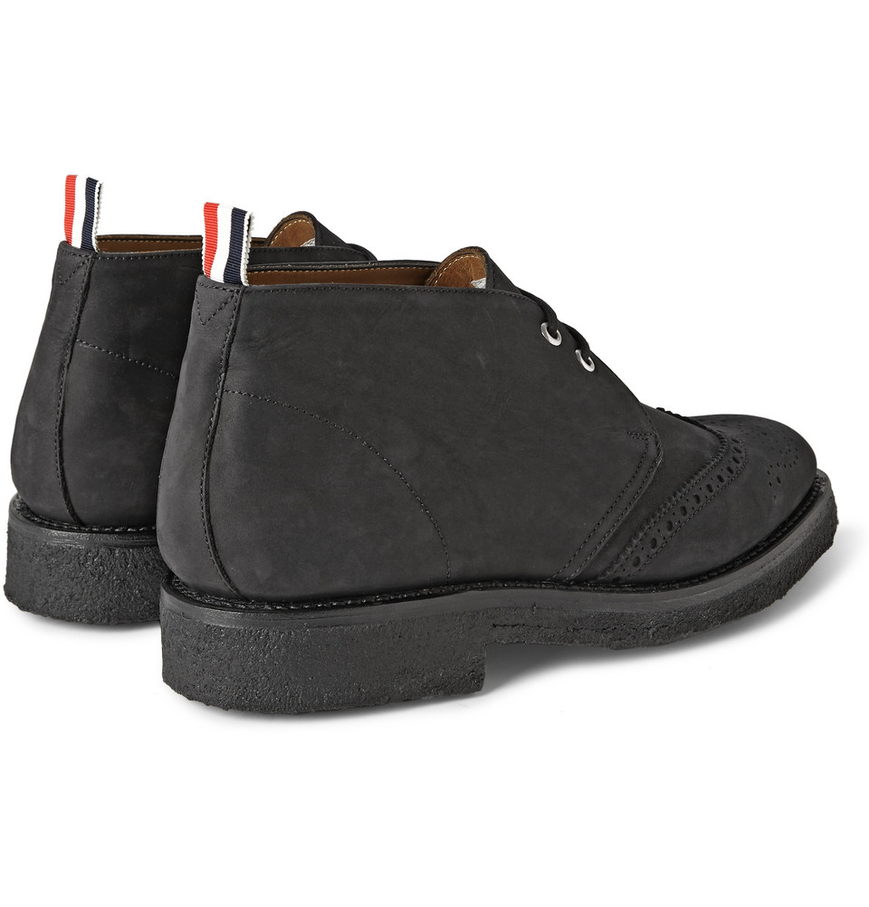 thom browne nubuck wingtip chukka boots in black for
