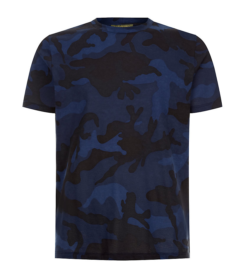 valentino camouflage tshirt in blue for men camo lyst. Black Bedroom Furniture Sets. Home Design Ideas