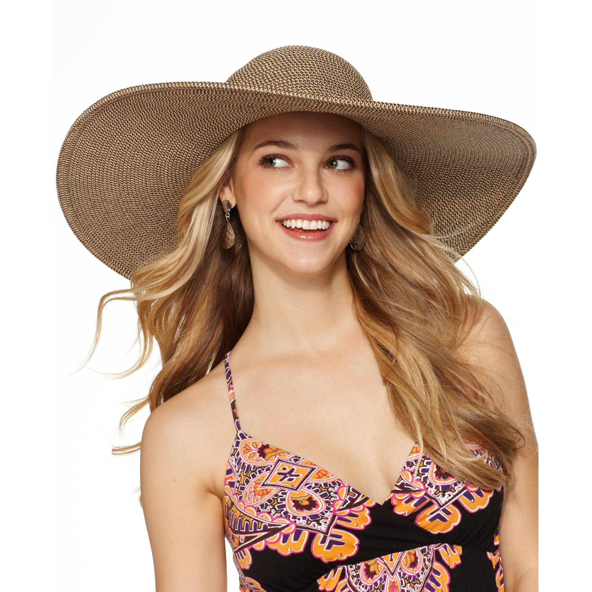 19ce2614db8 Lyst - Nine West Packable Straw Super Floppy Hat in Brown