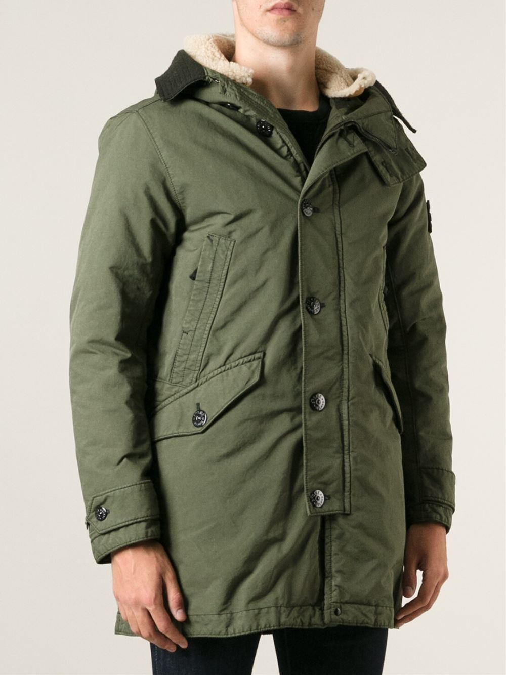 Stone Island Hooded Padded Parka In Green For Men Lyst