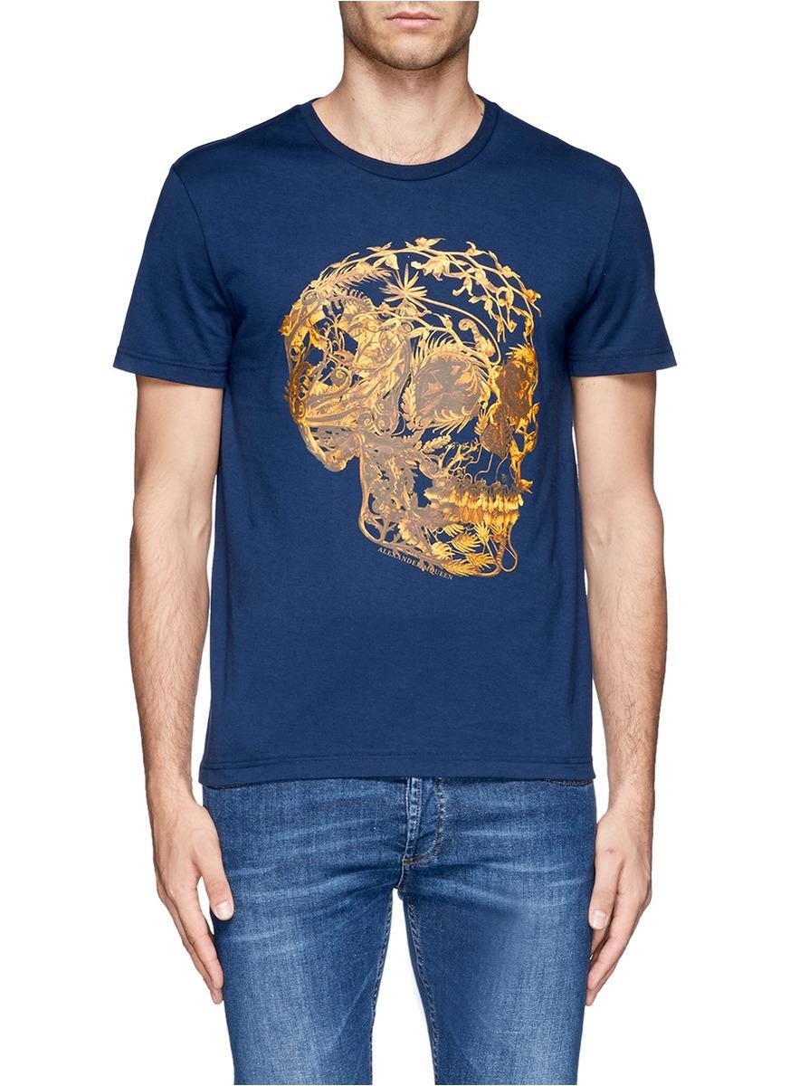 Alexander mcqueen floral skull print tshirt in blue for for Alexander mcqueen shirt men