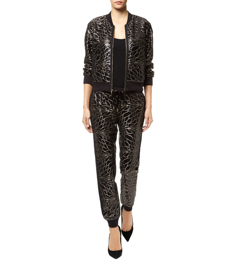 18944edfc Juicy Couture Leaf Sequin Bomber Jacket in Black - Lyst