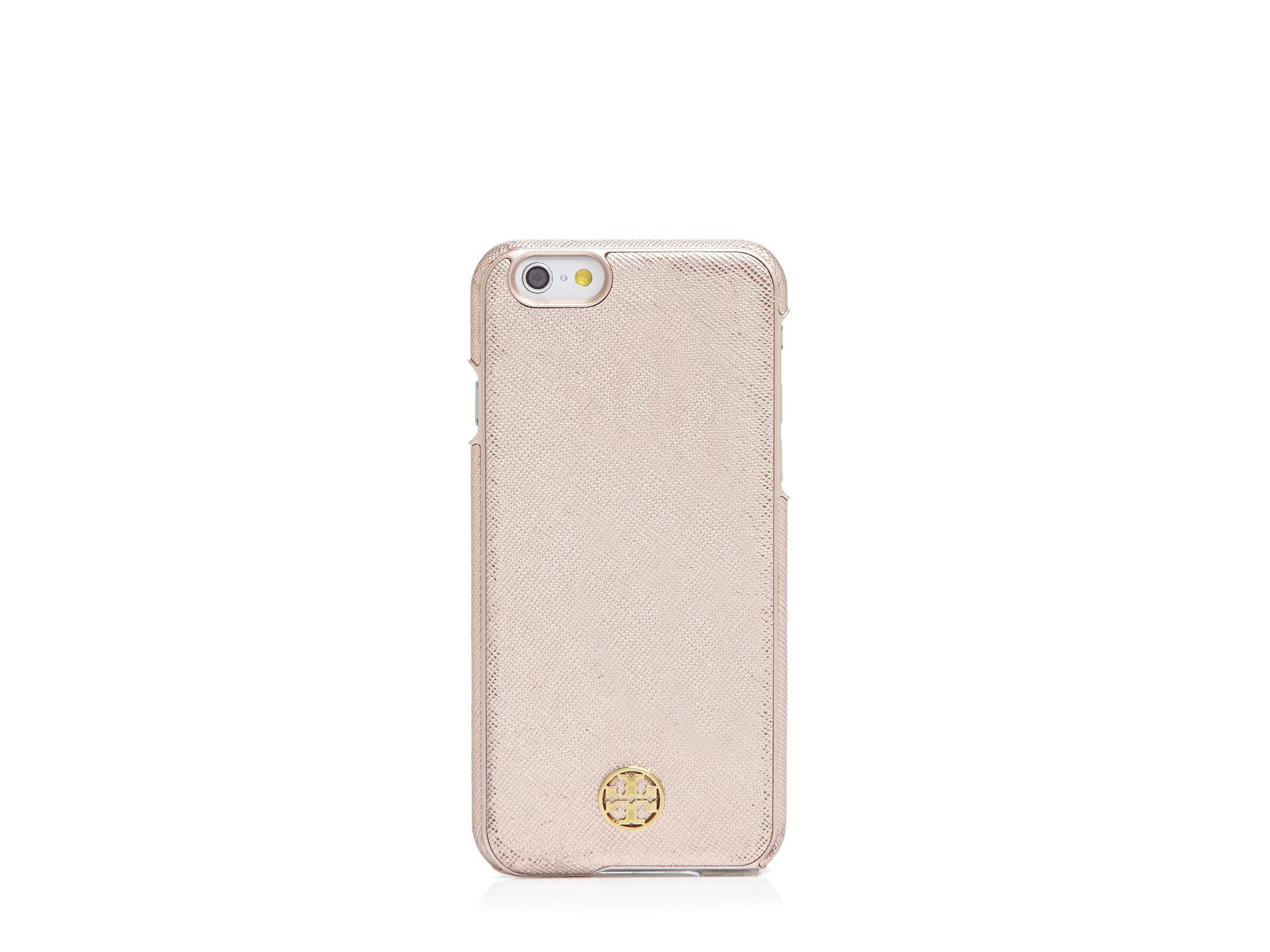 buy popular 43a6f b8da1 Tory Burch Pink Robinson Metallic Iphone 6 Case