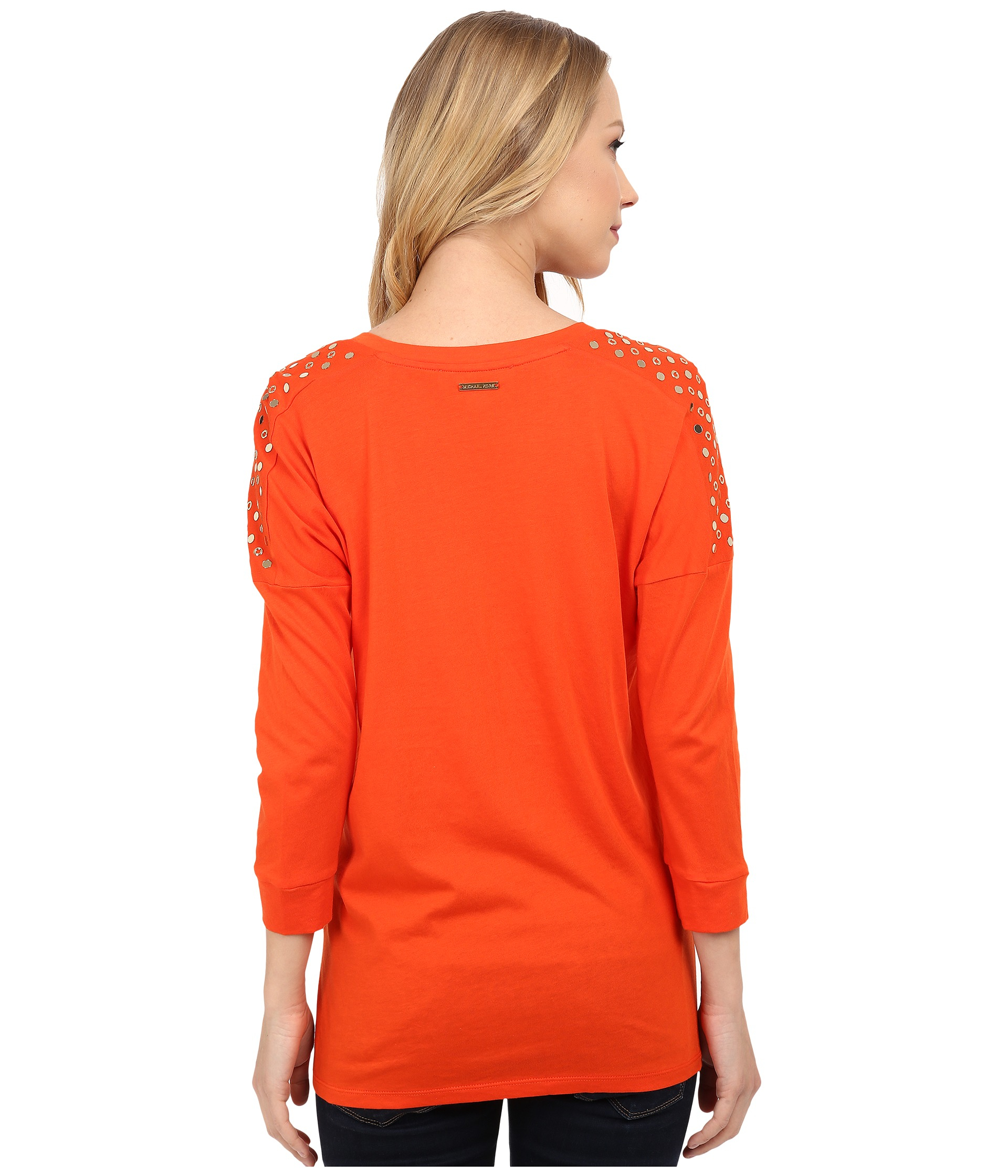 b9a86c6d71a Lyst - MICHAEL Michael Kors Stud Shoulder 3 4 Sleeve V-neck in Orange