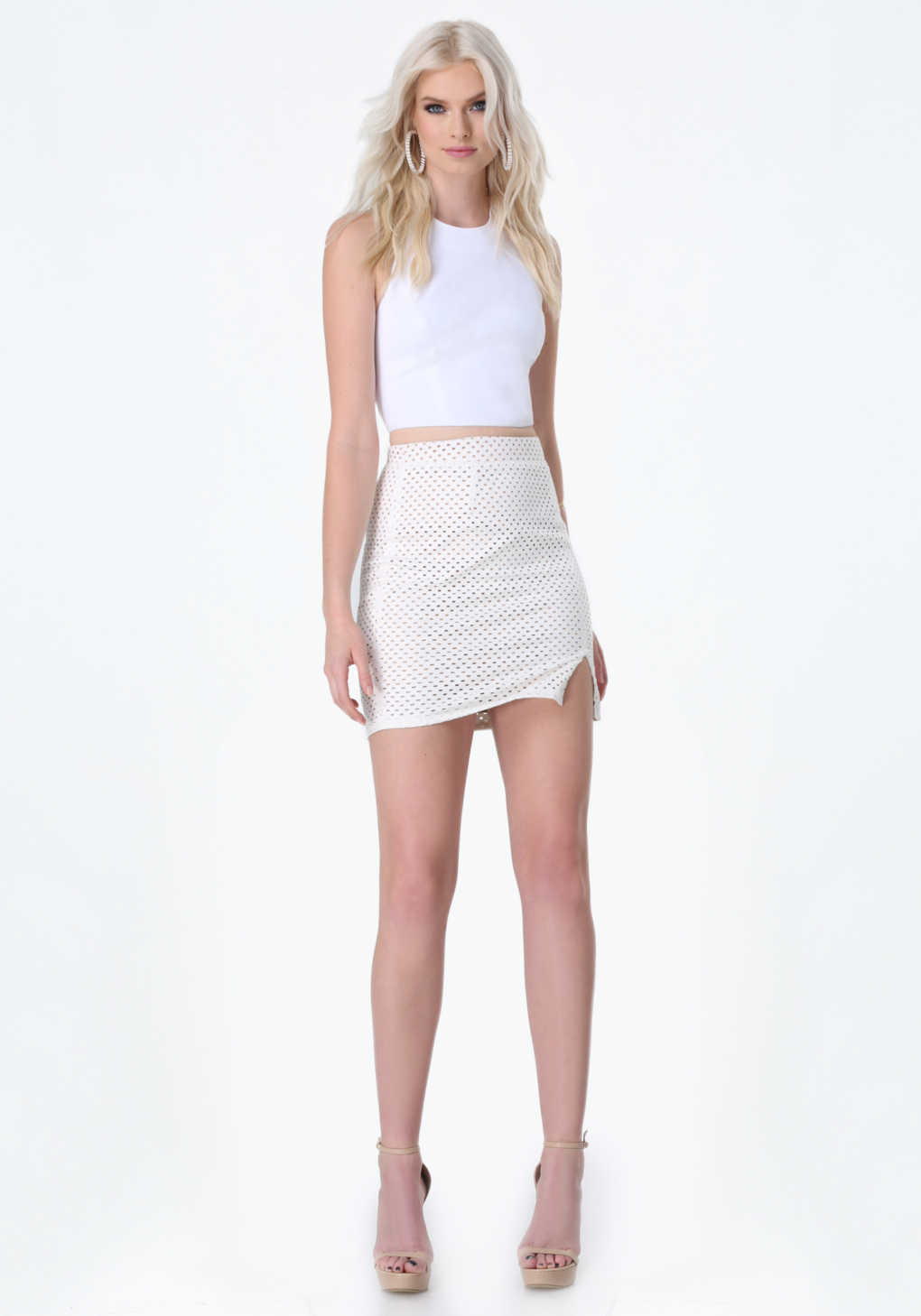 bebe perforated skirt in white lyst