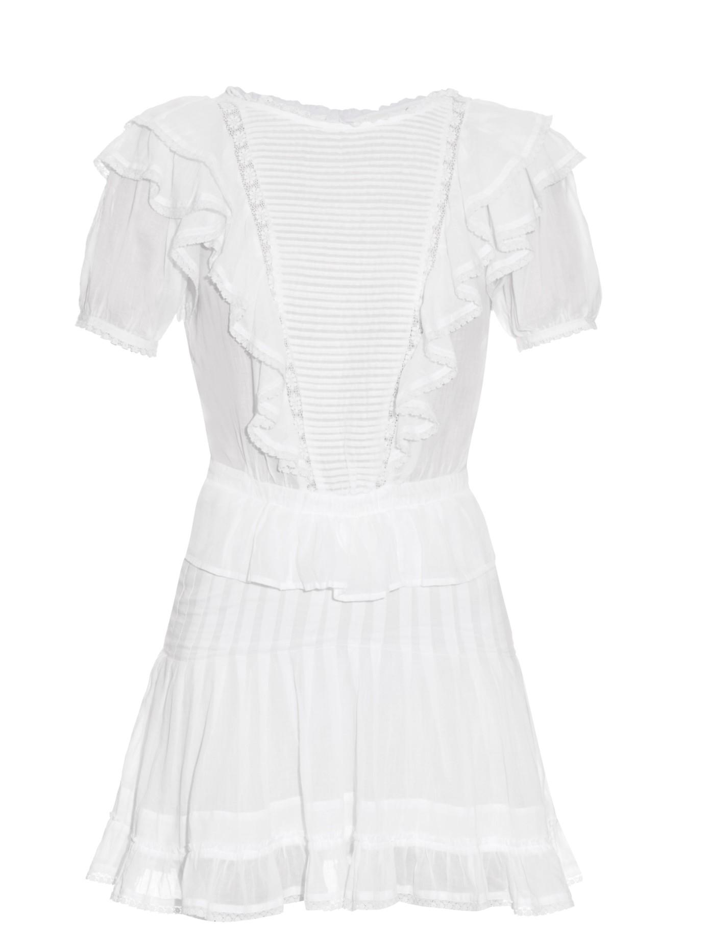 f4d23ff31bbef Étoile Isabel Marant White Naoko Bib-front Ruffled Dress