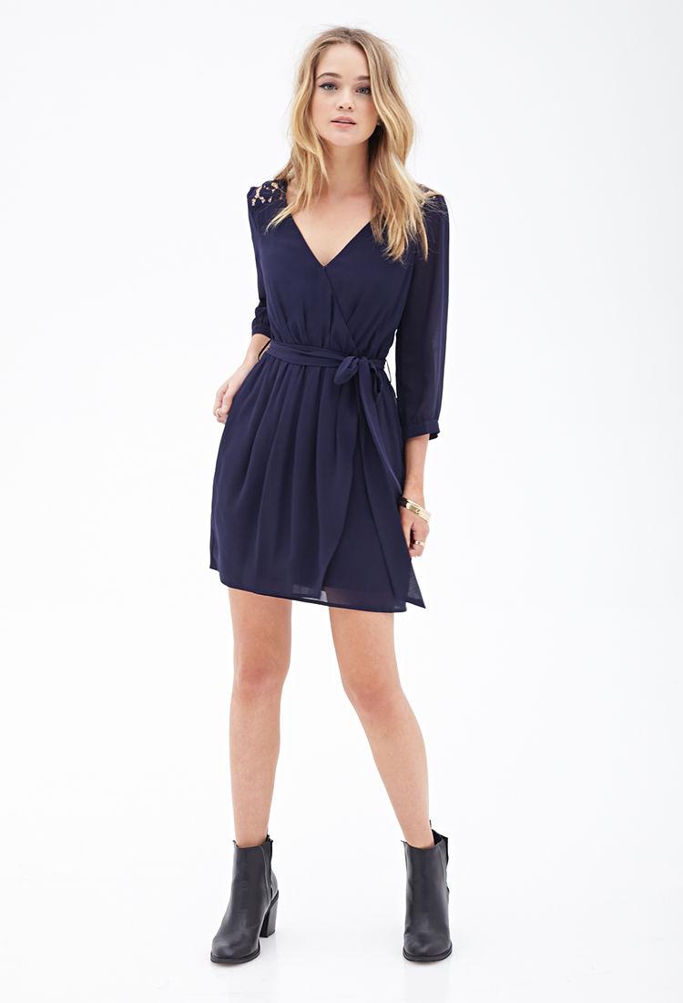 Chiffon Lace Surplice Dress