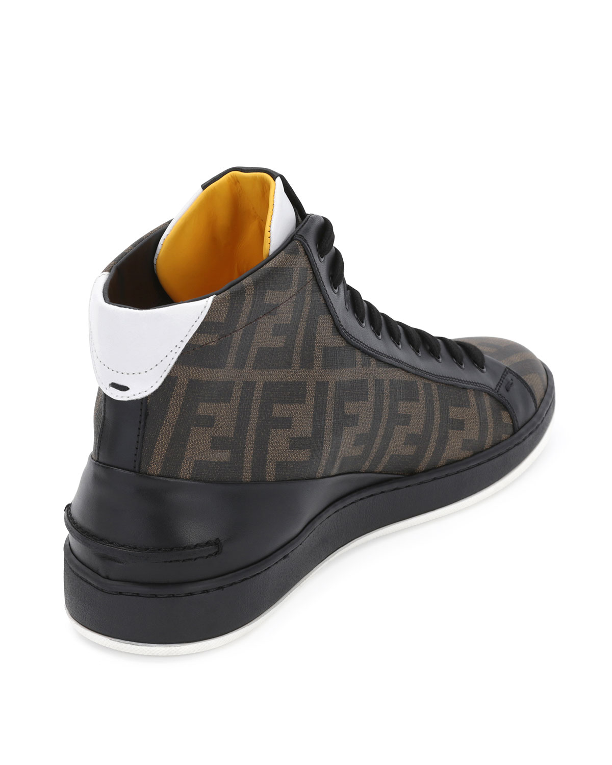 edab9ff0 Fendi Brown Zucca High-top Leather Sneaker for men