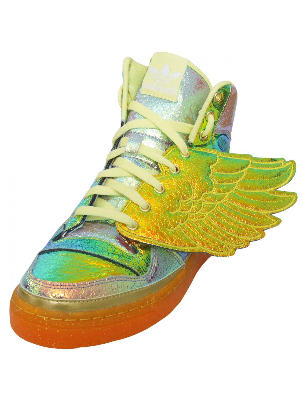 Metallic Foil Wing Sneaker Iridescent Gold