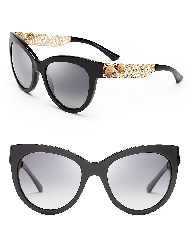 a9bfe8be70ef Lyst - Dolce   Gabbana Polarized Cat Eye Floral Filigree Sunglasses ...