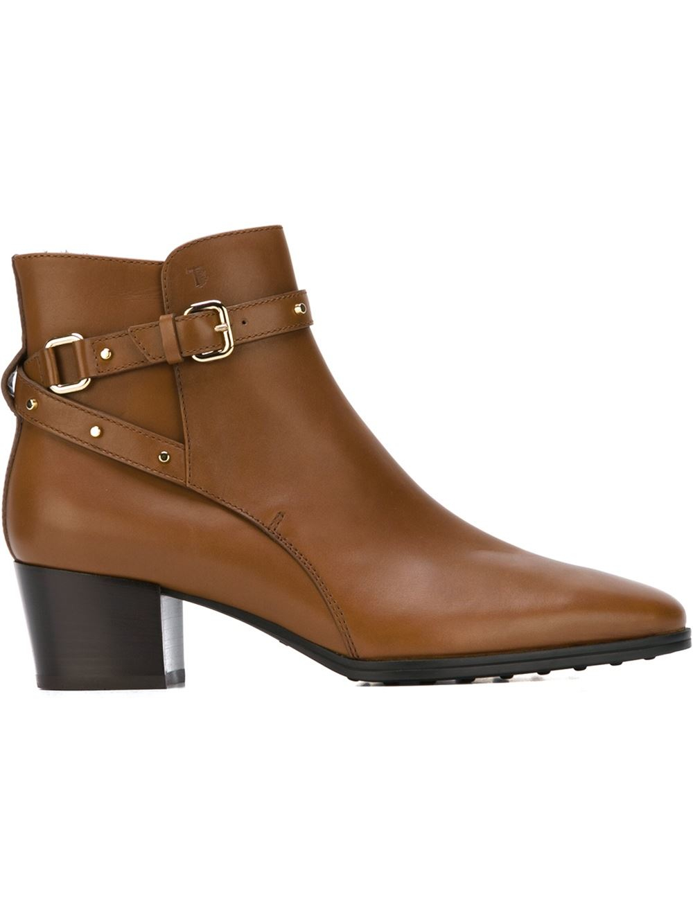 Todu0026#39;s Buckled Leather Ankle Boots In Brown | Lyst