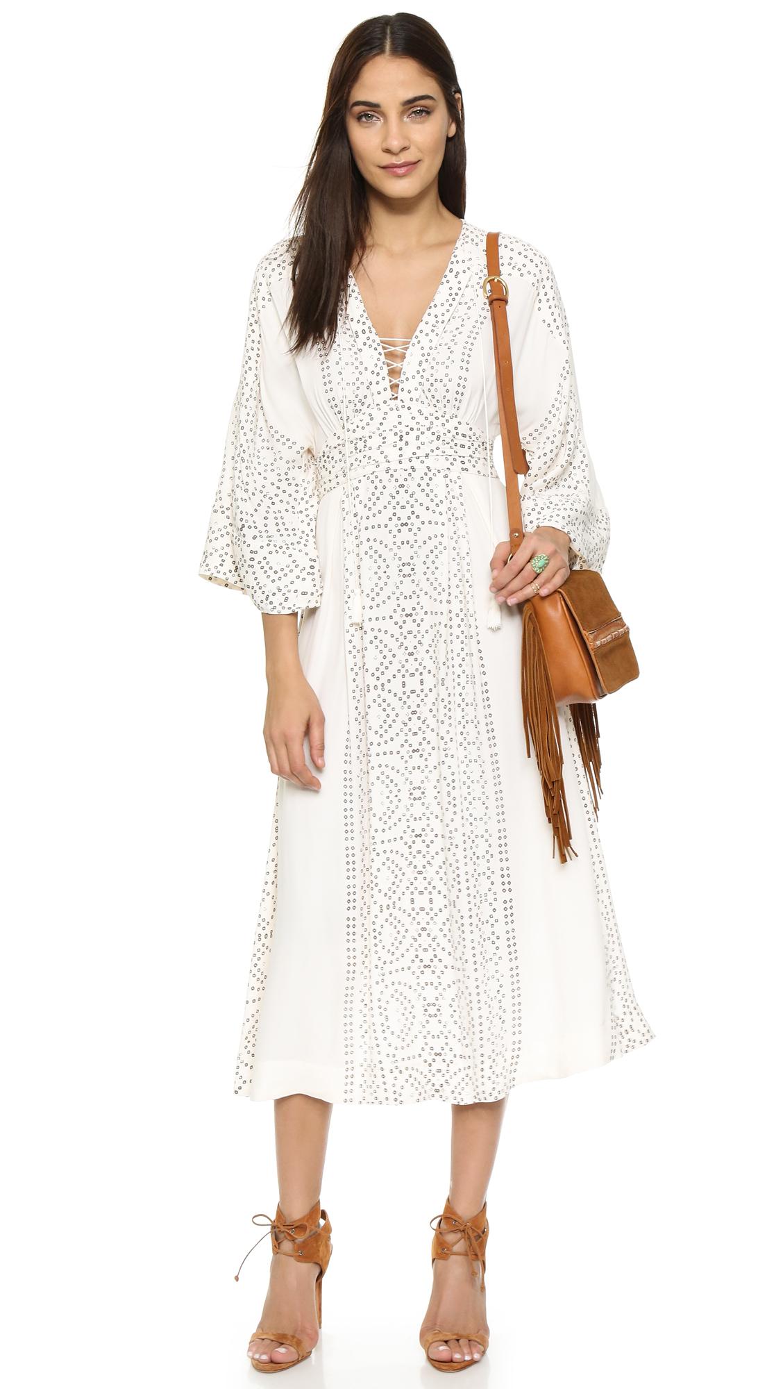 Free People Kimono Crepe Maxi Dress In White Lyst