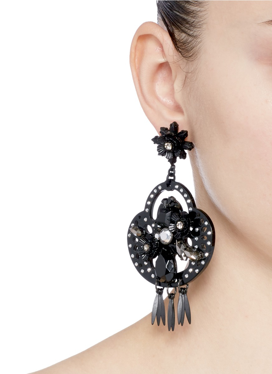 Lyst jew midnight crystal chandelier earrings in black gallery mozeypictures Image collections