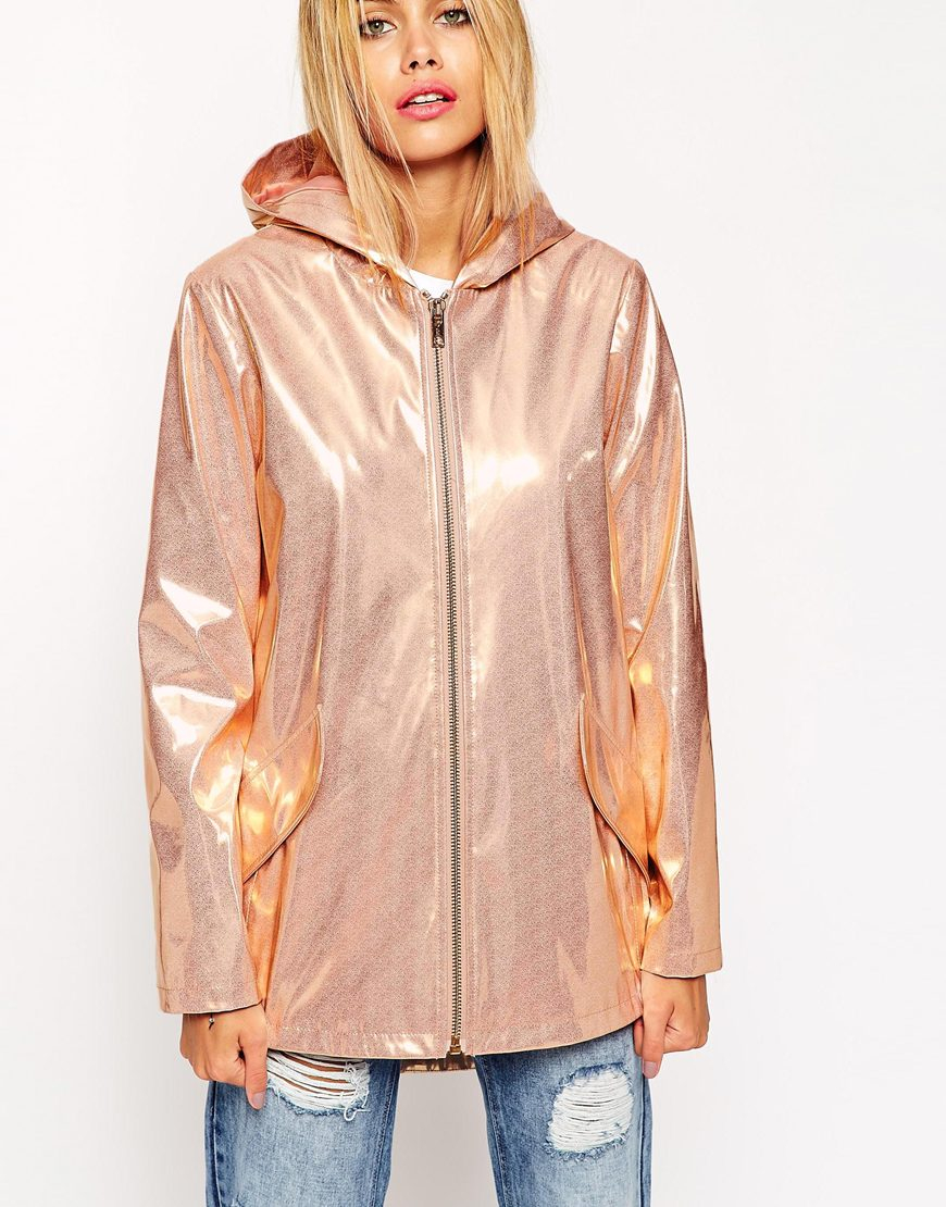 Asos Rain Trench In Metallic High Shine In Pink Lyst