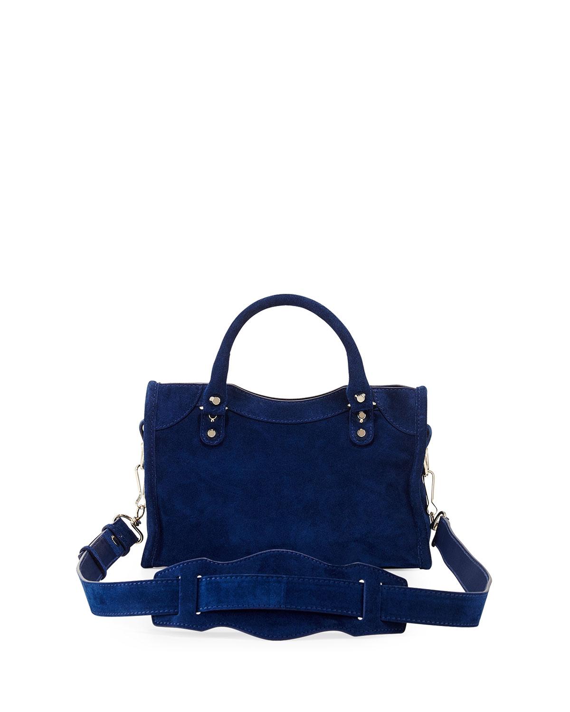 2e5ed598ee2f Lyst - Balenciaga Classic City Mini Suede Bag in Blue