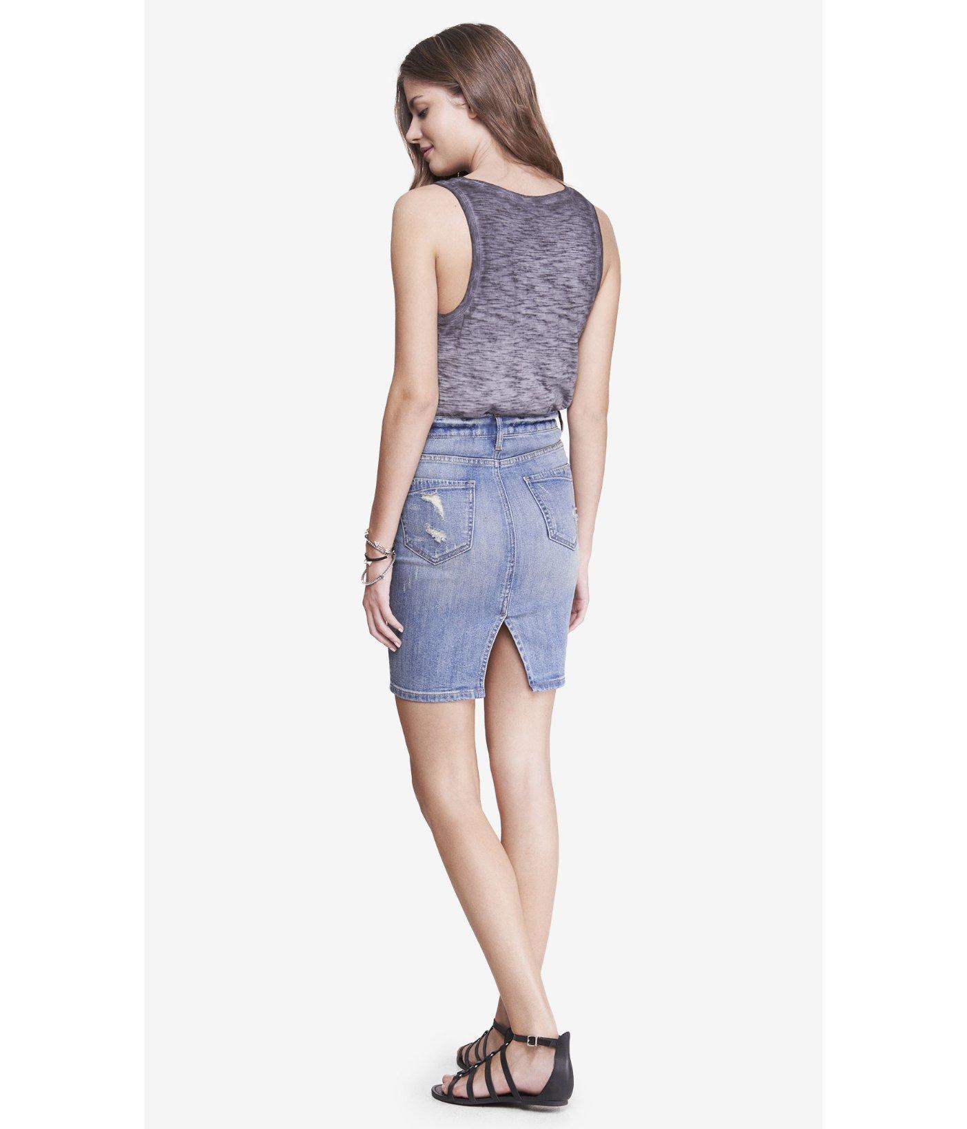 express distressed high waist denim pencil skirt in blue