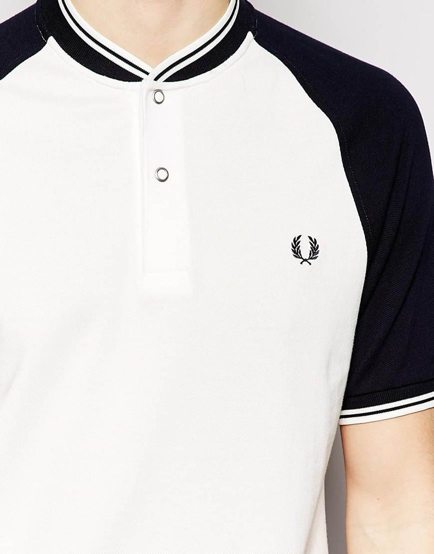 8cc7adf683b Fred Perry White Polo Shirt With Bomber Neckline Slim Fit for men