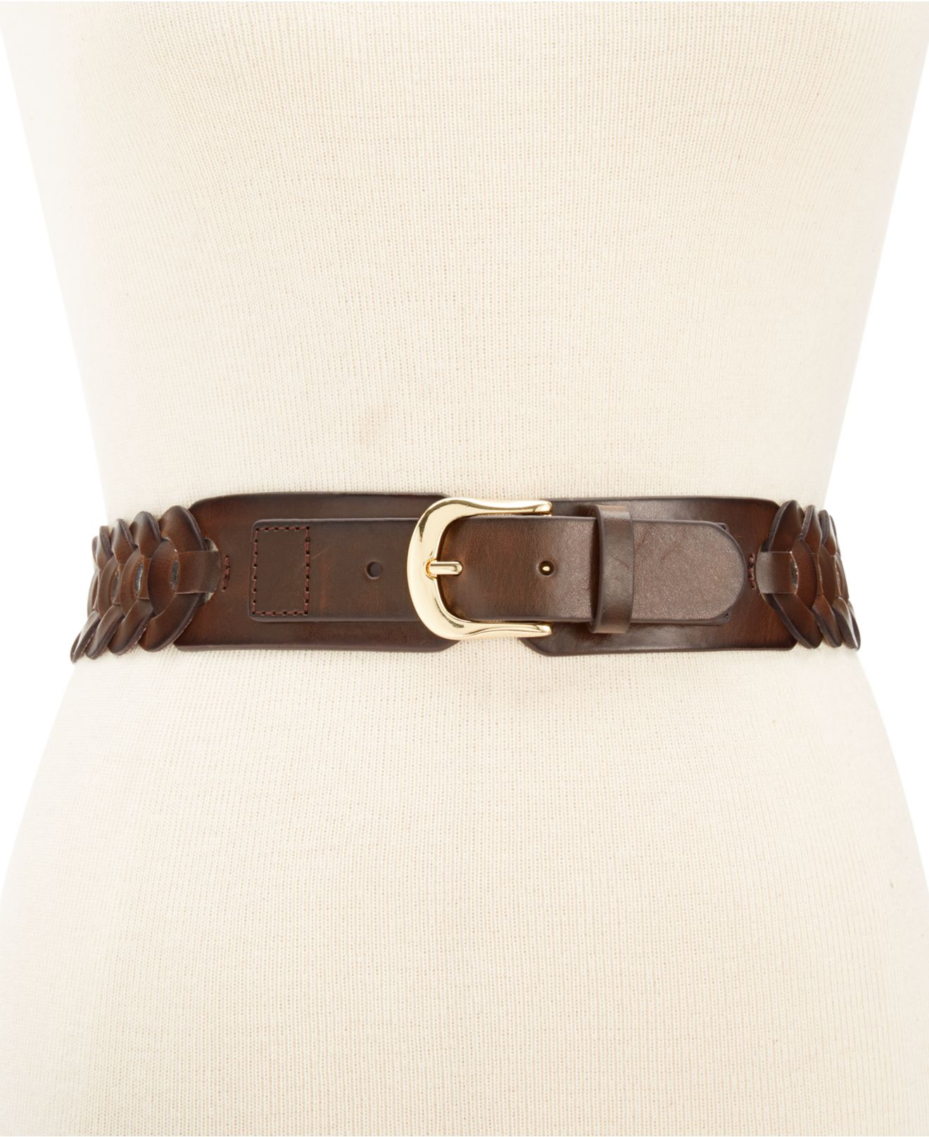 style co style co braided stretch belt in brown lyst