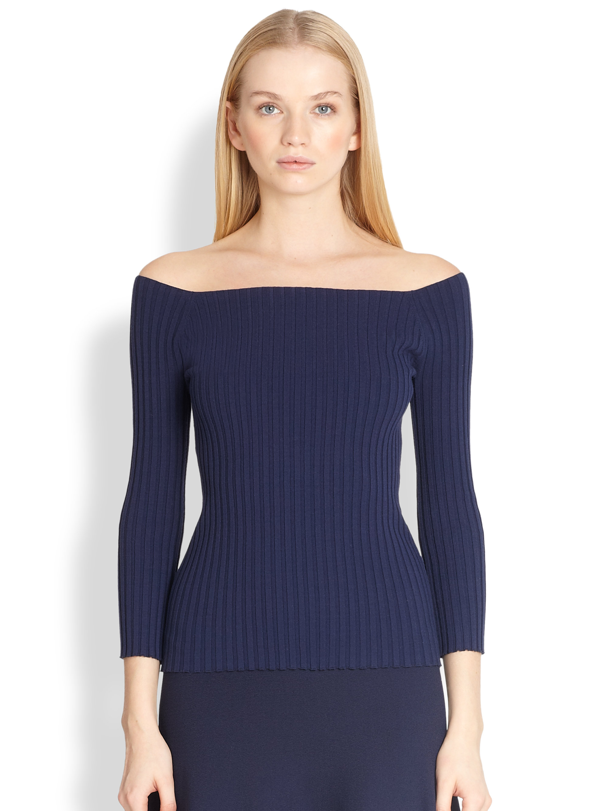 Michael kors Ribbed Off-the-shoulder Sweater in Blue | Lyst