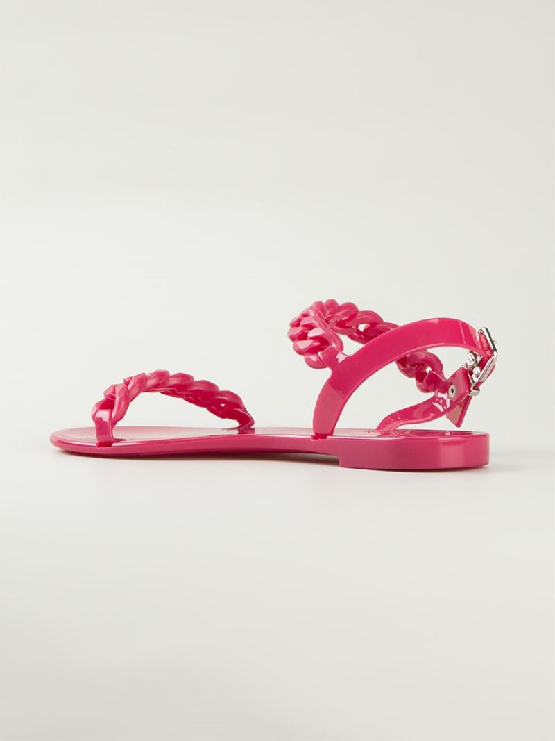 ab77172e719f Lyst - Givenchy Curb Chain Sandals in Pink