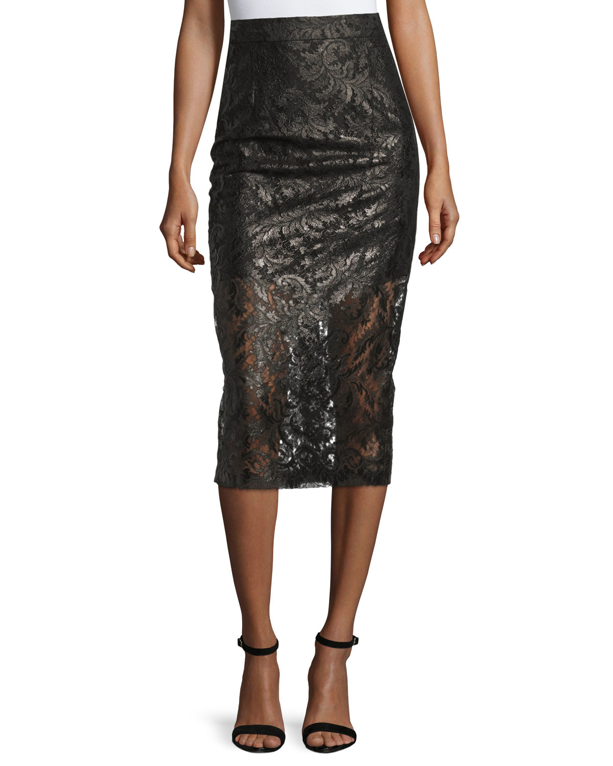 lhuillier laminated lace overlay pencil skirt in