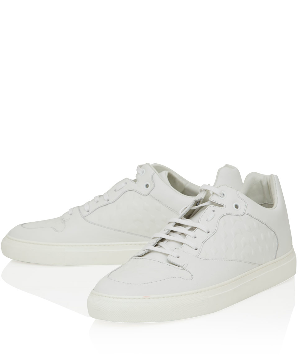 0f99795d2a96 Lyst - Balenciaga White Embossed Panel Leather Low-Top Trainers in ...