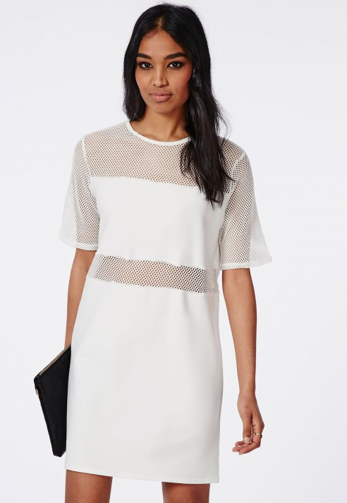 093939a3949 Lyst - Missguided Fishnet Panelled T-shirt Dress White in White