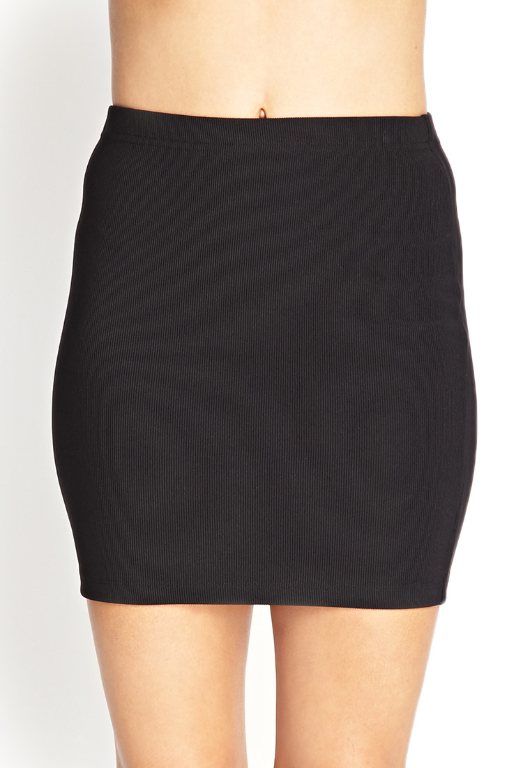 forever 21 ribbed bodycon pencil skirt in black lyst