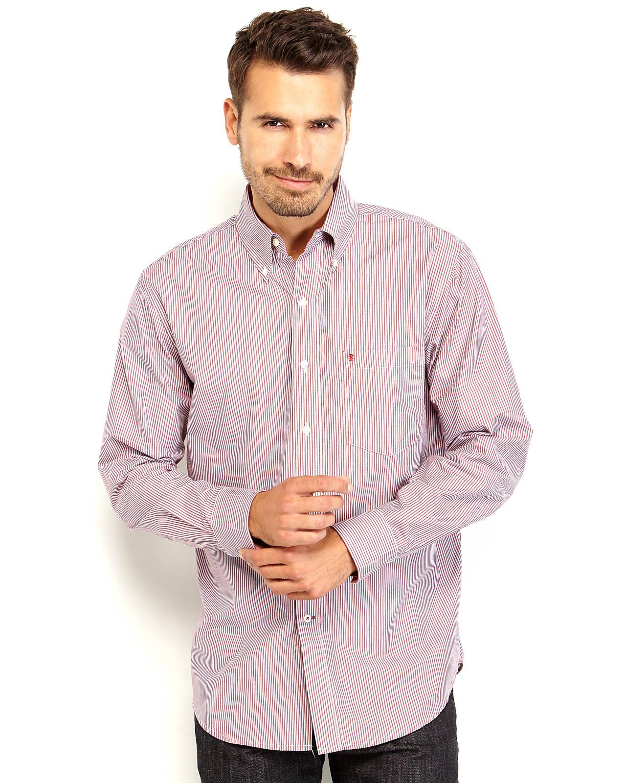 Lyst izod striped button down shirt in blue for men for Red and white striped button down shirt