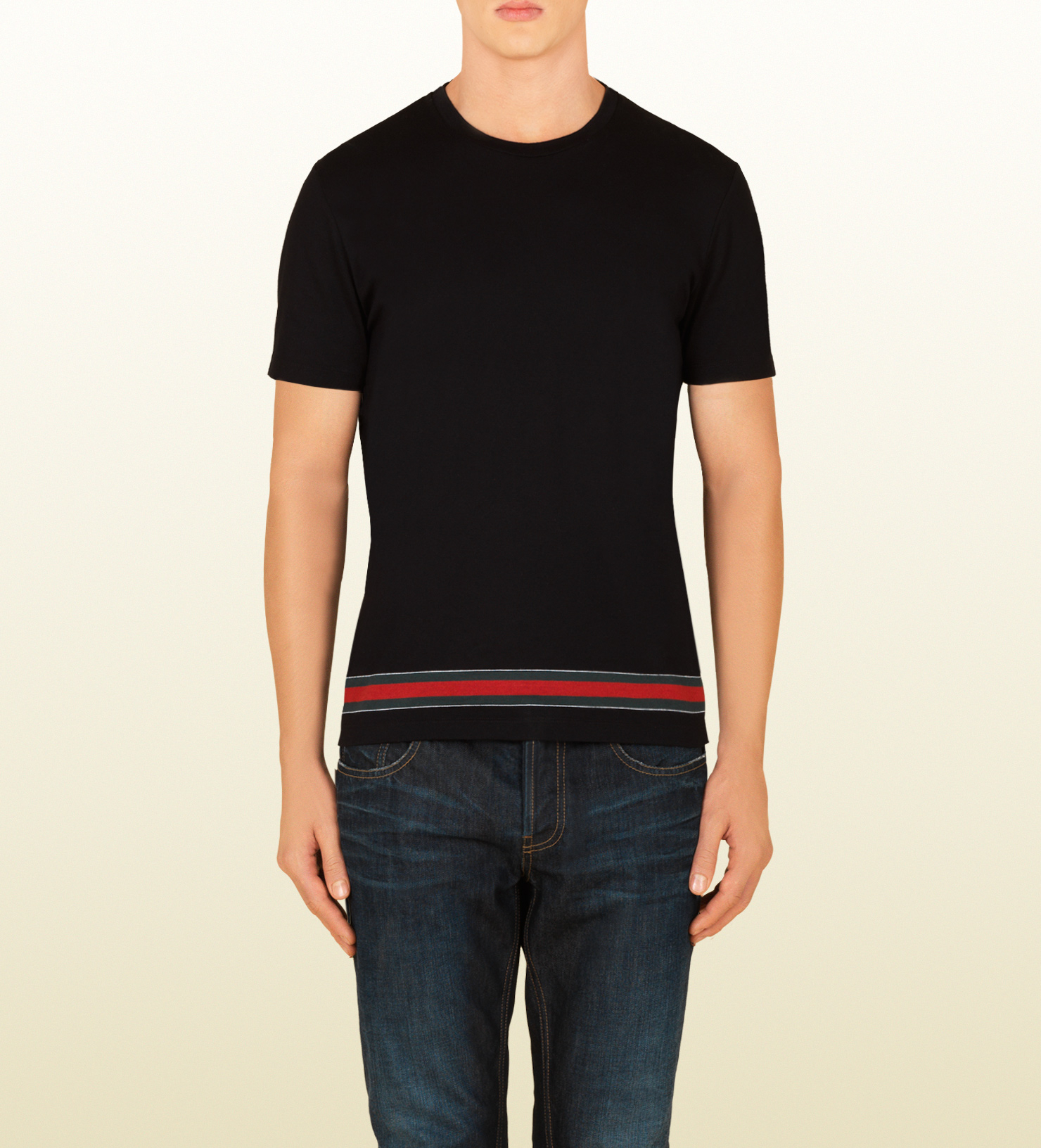 Lyst Gucci Cotton Jersey T Shirt With Web Stripe In