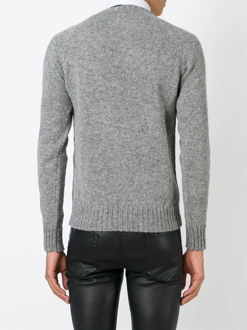 Saint laurent Zip Detail Sweater in Gray for Men | Lyst