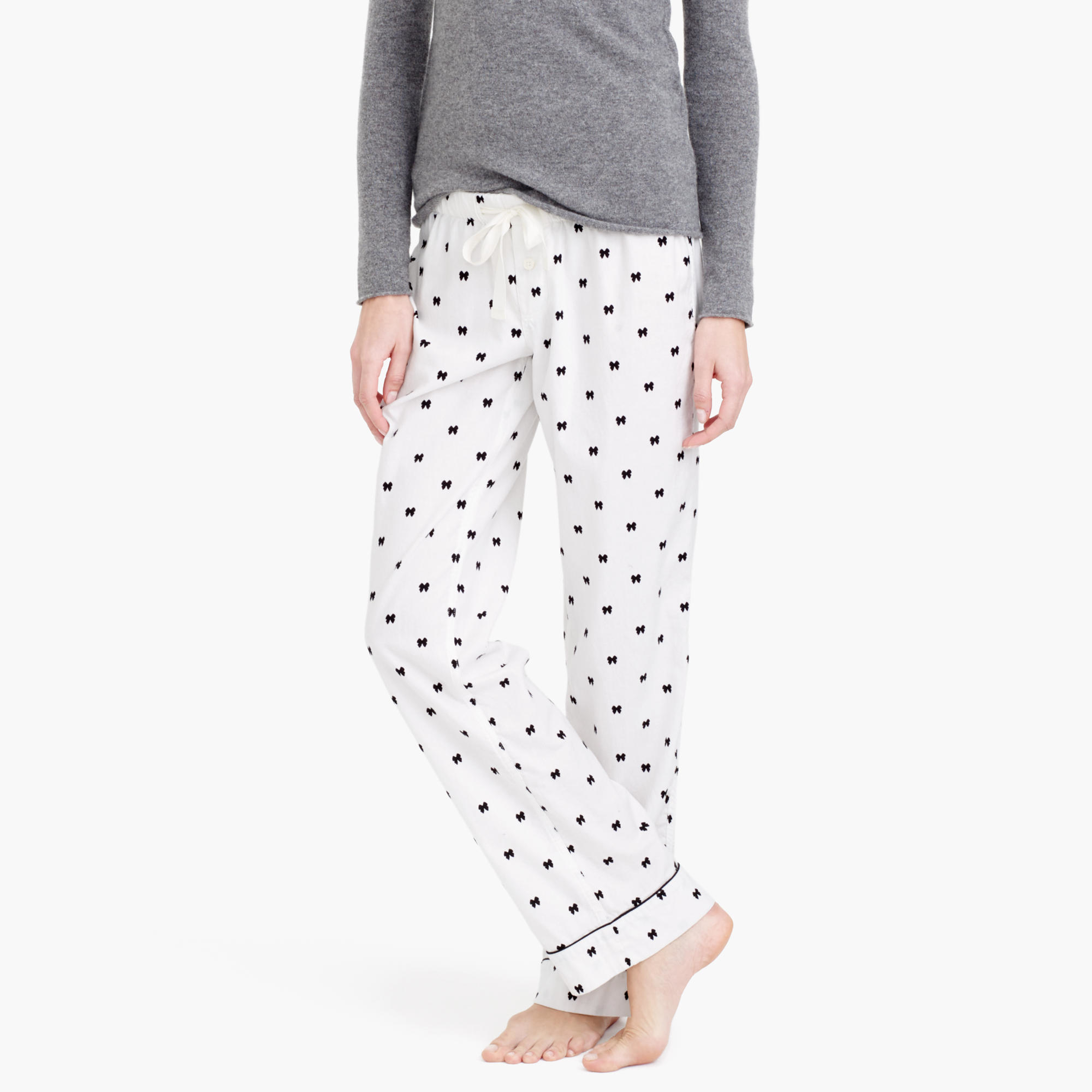 Lyst Jcrew Bow Flannel Pajama Pant In Black