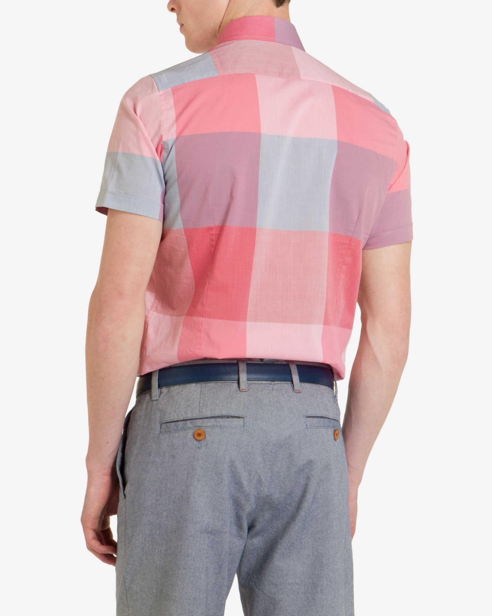 Ted Baker Checked Shirt in Pink for Men