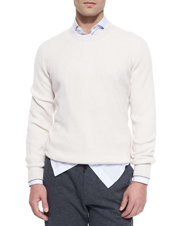 Brunello cucinelli Shaker-stitch Cashmere Crewneck Sweater in ...