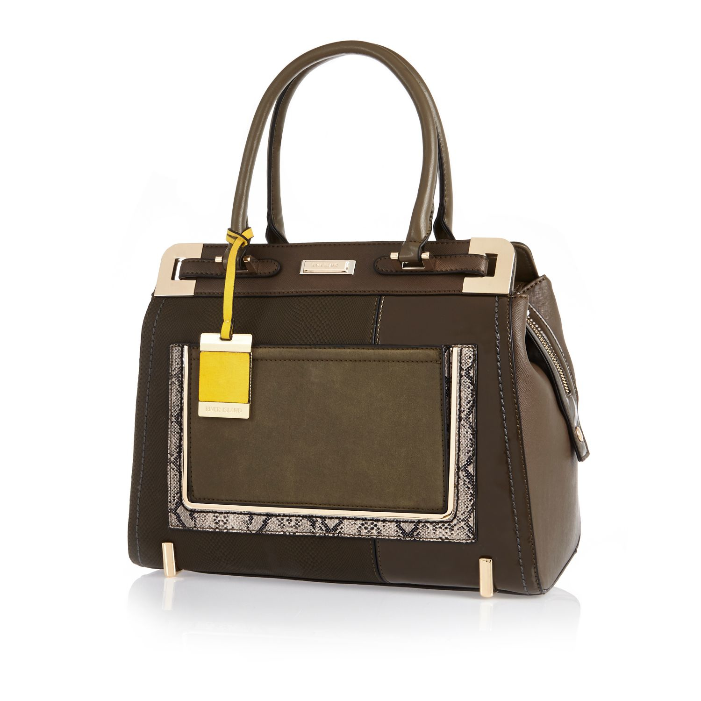 4e11a7624c River Island Khaki Structured Tote Handbag in Brown - Lyst