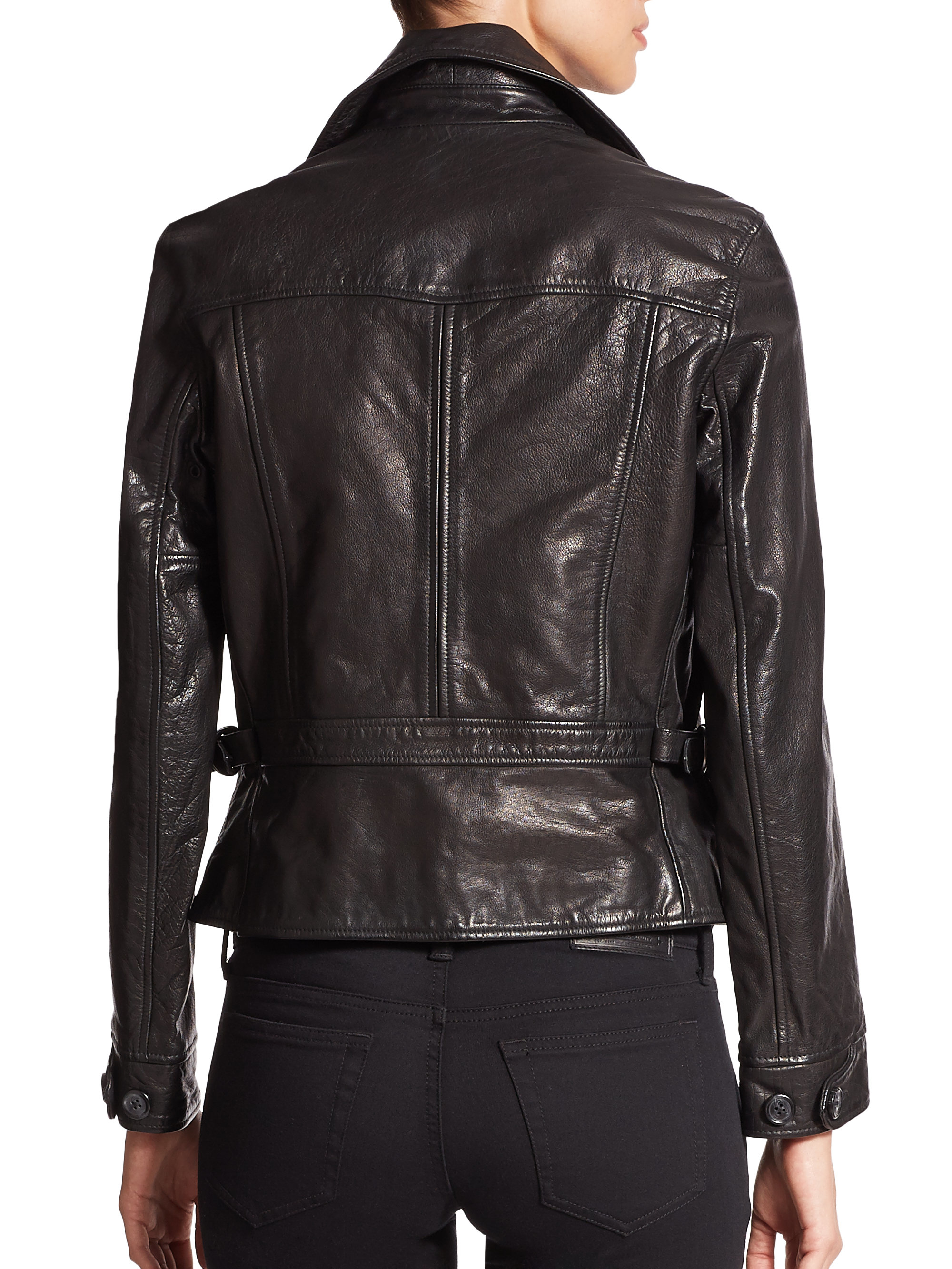 Lyst - Polo Ralph Lauren Washed Leather Moto Jacket In Black