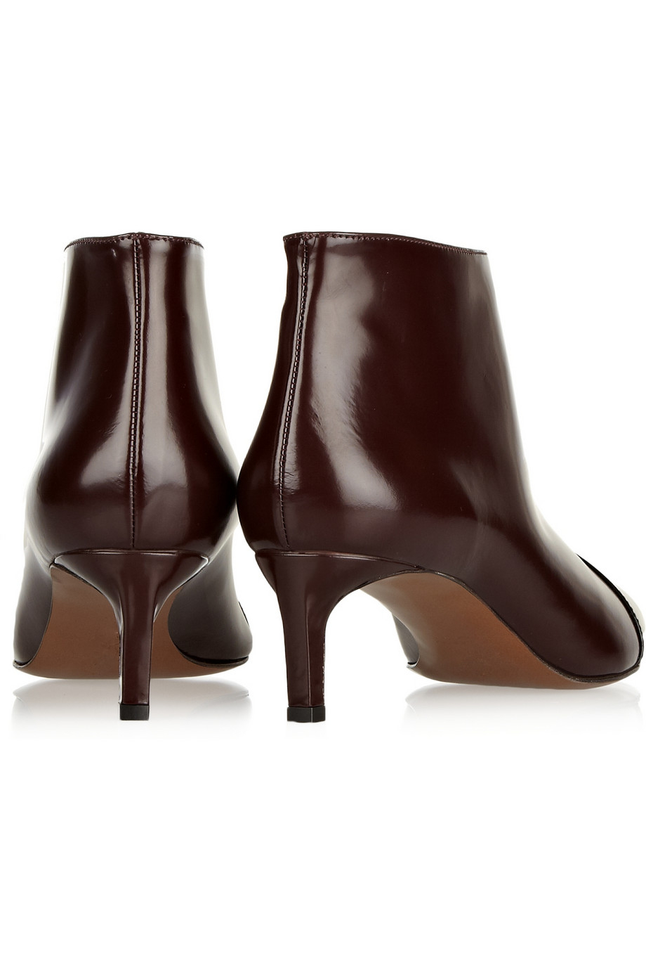 Marni Two-Tone Glossed-Leather Ankle Boots in Red