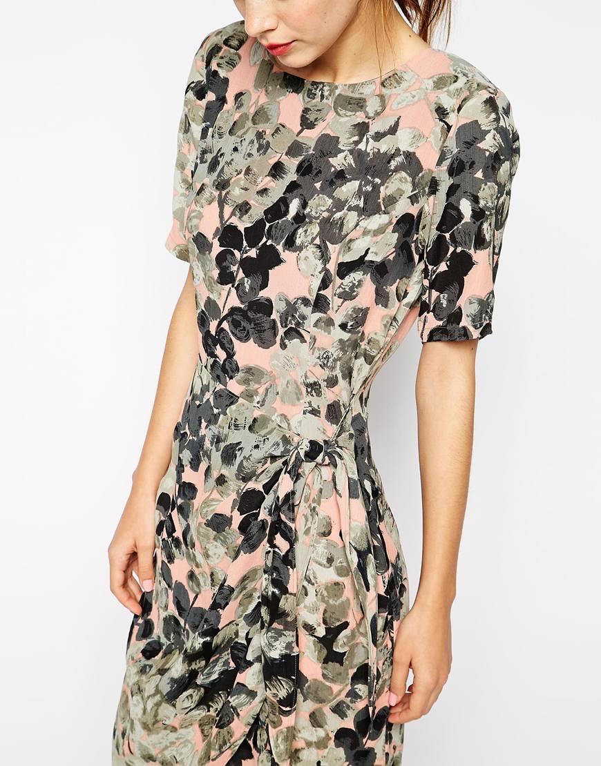 b4c9d760 Ganni Wrap Dress In Floral Print in Green - Lyst