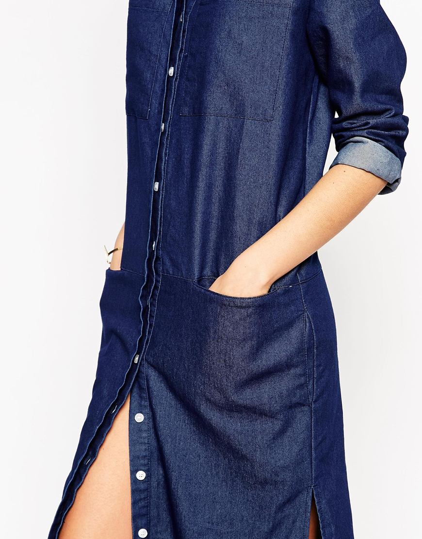 Lyst Daisy Street Utility Maxi Shirt Dress In Indigo