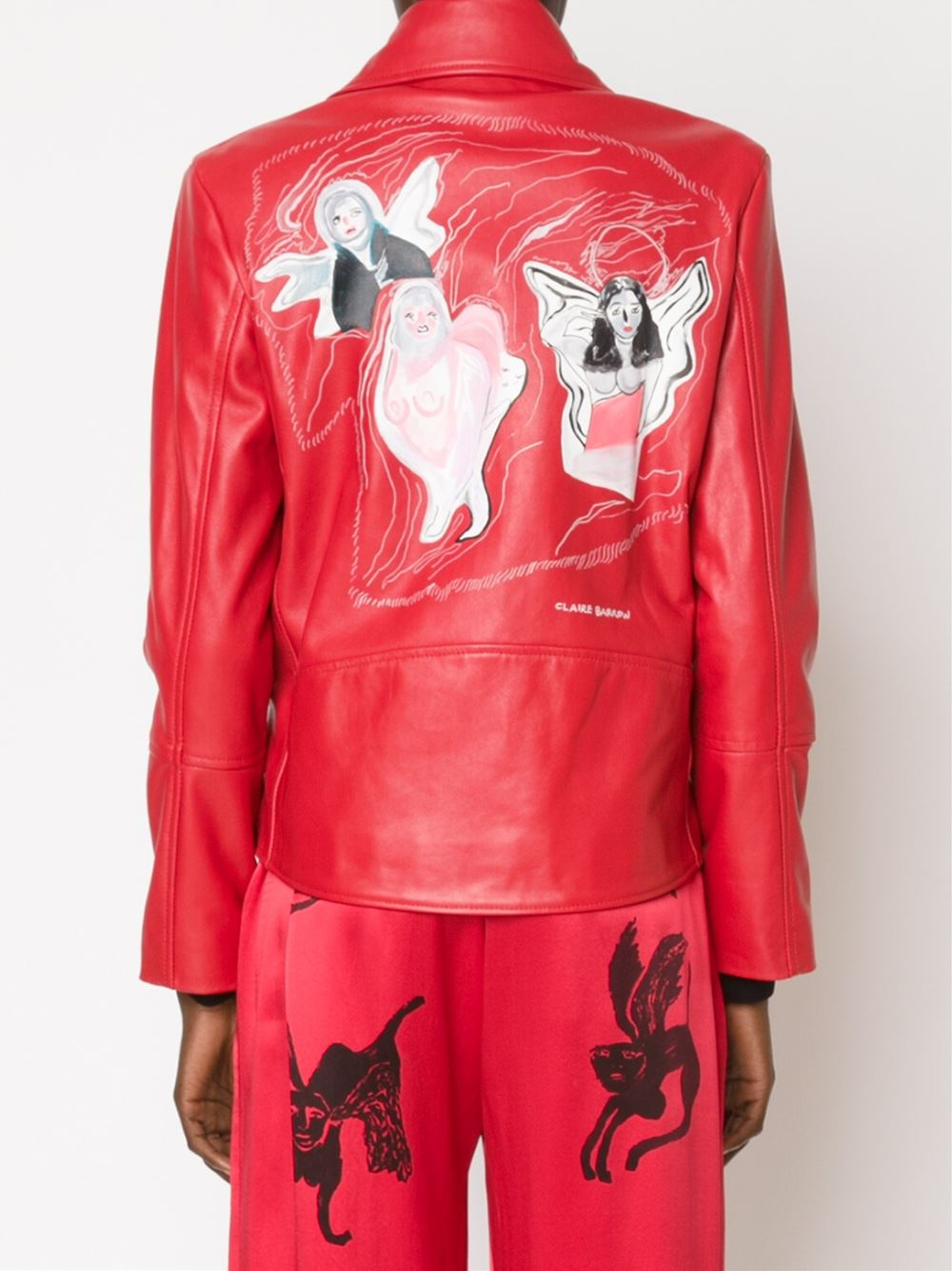 Claire Barrow Embroidered Back Biker Jacket In Red  Lyst