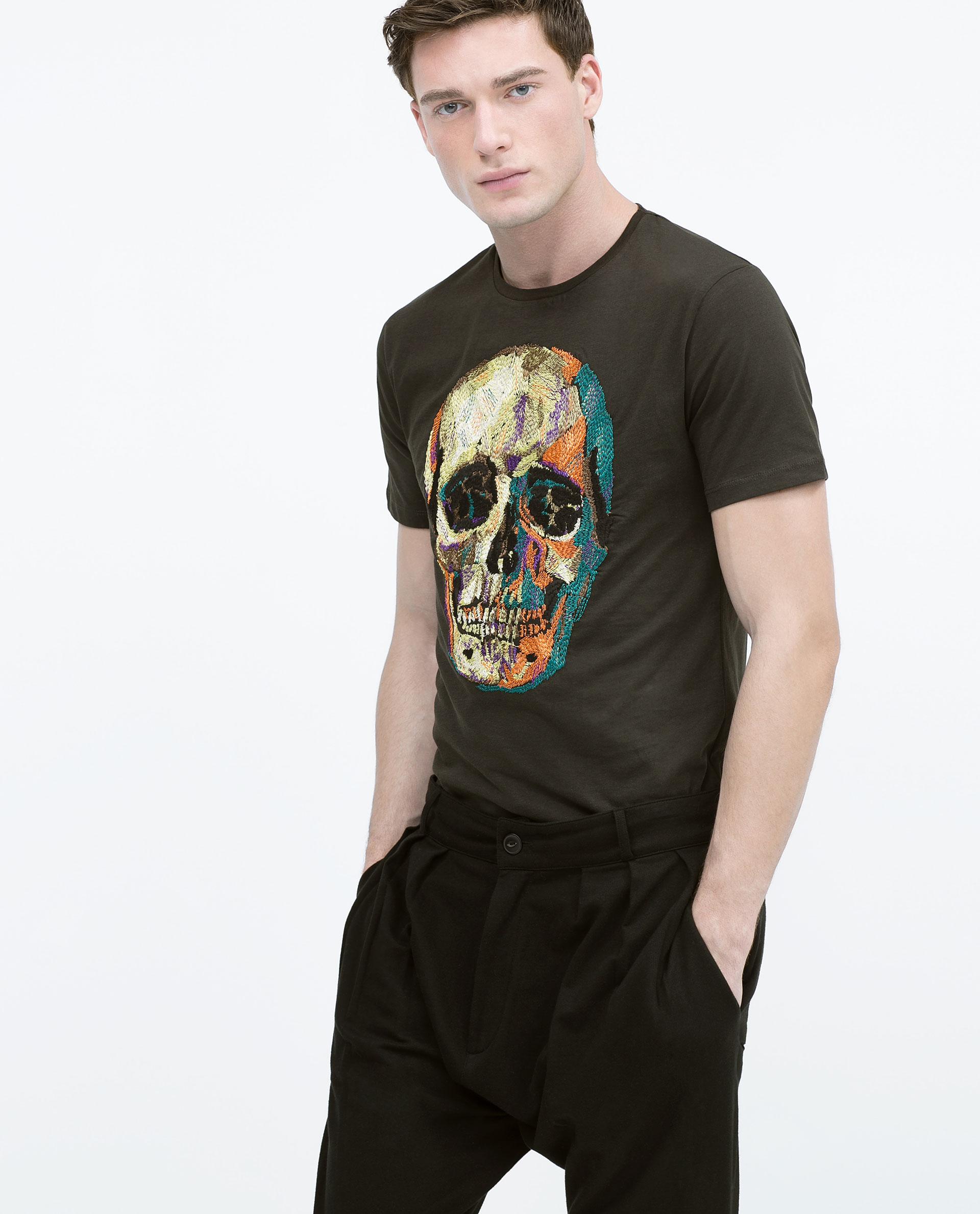 Zara embroidered skull t shirt in gray for men lyst