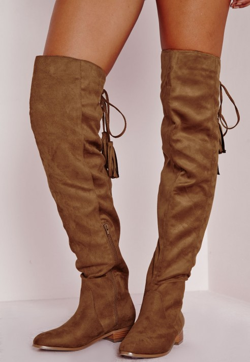 Missguided Flat Knee High Tassel Back Boot Tan in Brown | Lyst