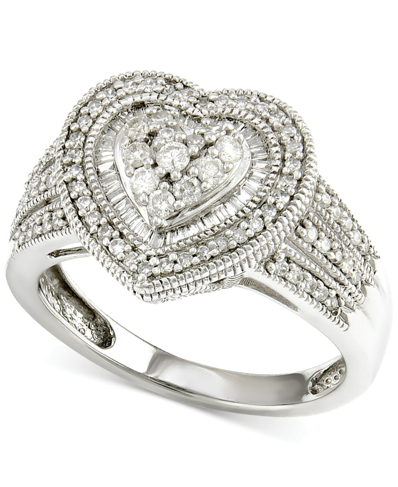 Macy s Diamond Heart Engagement Ring 1 2 Ct T w In 14k White Gold in