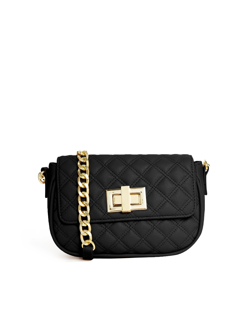 Asos Quilted Cross Body Bag With Chunky Chain In Black Lyst